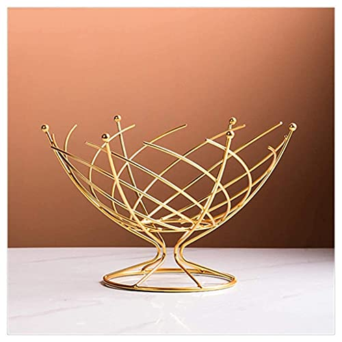 Daily Accessories Metal Fruit Basket Metal Wire Baskets Living Room Snack Tray Drain Trays Dining Table Decor Creative Desktop Organizer (Color : Metallic Size : Small)