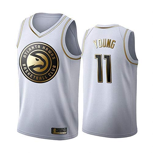 BMY Men's Basketball Clothes NBA Altanta Hawks #11 Trae Young New White-Gold Embroidered Jersey, Unisex Basketball Fan Sleeveless Training Sports Vest,S(170CM/50~65Kg)