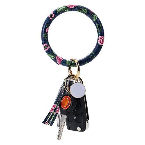 Artscope Leder Armband Schlüsselbund Großer Kreis Lederarmband Armreif Schlüsselring Quaste Armband Schlüsselhalter für Damen Mädchen (Blumen dunkelblau)