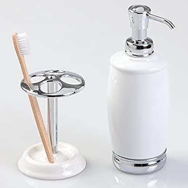 mDesign Ceramic Soap or Lotion Dispenser Pump with Toothbrush Holder Stand, 2 pc Bathroom Accessory Set - White/Chrome