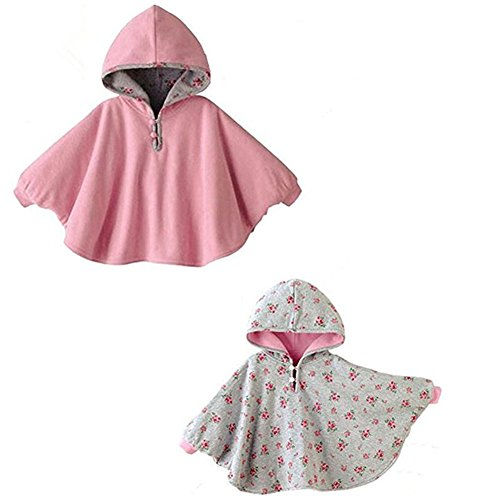 Baby Cotton Double-side Wear Hoodie Cape Printed Outer Wear Coat for 1-3 Year Girls By Azhido (Pink, 1-3T)
