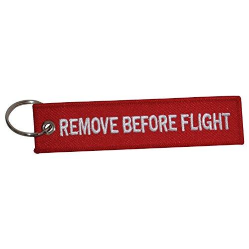 Remove before Flight Luggage tag   portachiavi   Alta qualità   (multicolore), Red (Rosso) - AVMZL-RBF1-RED-W