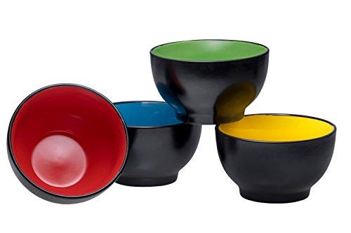 Bruntmor Ceramic Dessert Bowls - Colorful BlackIce Cream Bowls Set - Small Serving Bowls for Side Dish, Snack, Dessert, Soup, Dip Bowls (20 Oz, Set of 4)