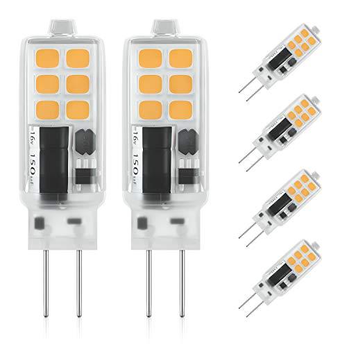 DiCUNO G4 LED Lampe 2W, AC/DC 12 V mit 240 LM, SMD, Warmweiß 3000K, Ersatz für 25W Halogen Lampen, Nicht Dimmbar,Kein Flackern, 6-er Pack