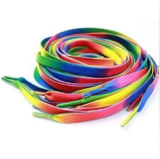 Herrer Alvo Rainbow Multicolor Flat Canvas Athletic Shoelace Sport Sneaker Shoe Laces Boots Strings (1Pair, 2 Pcs)