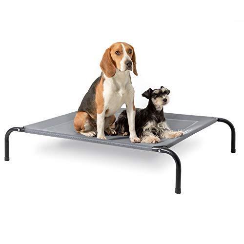 Bedsure Hundeliege grau in und Outdoor Garten, für draußen Camping erhöhtes Hundebett, Größe in L 124x90 cm, höhe in 20 cm