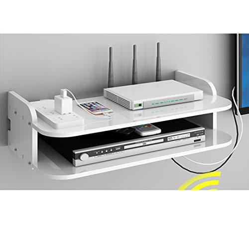 Catekro - Mueble de TV para pared con WiFi/DVD, caja de almacenamiento para mando a distancia, banco de TV para el salón, la habitación (35 x 19,5 x 12,5 cm)