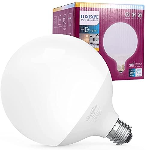 LUXEXPE Lampadina LED E27 , LED Globe Lampadina 15W ( Equivalente a 150 W) , G120 , 1500 lumen , Luce bianca calda , Temperatura colore 2700K, Luci a LED Alta qualità e lunga durata 12x 12 x 15.7cm
