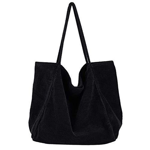 Funtlend Umhängetasche Damen Groß Handtasche Schultertasche Cord Tasche Damen Crossbody Tasche Einkaufstasche Damen Shopper-40*40*23cm (Schwarz)