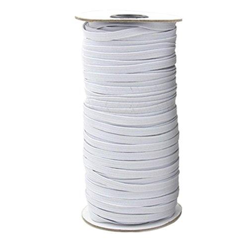 ULTNICE Cordón elástico de banda plana con cinta elástica blanca para ropa...