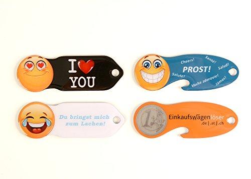 Einkaufswagenchip ORANGE + 3X Smiley (ILY,Happy, PROSST) mit 365 Tagen gratis Schlüsselfund-Service