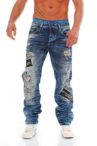 Herren Zerrissene Destroyed Jeans mit Heller Waschung von Redbridge blau (W38 L32, Blau)