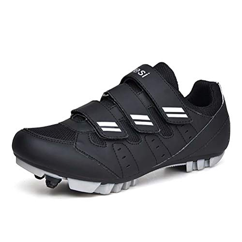 Mens Cycling Shoes with Cleats Flat Specialized Road Mountain Bike Shoes Womens SPD Mesh Breathable Slip Resistant Riding Outdoor Sport Black Size 10.5 UK