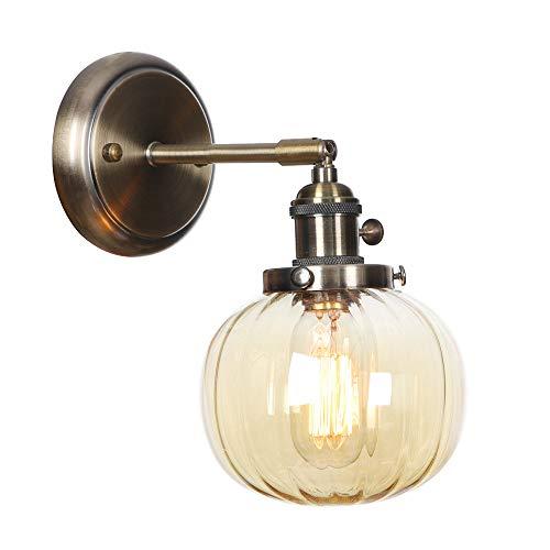 Lámparas de pared, iluminación de aplique de metal creativo nórdico con interruptor, pantalla de vidrio ámbar, luz de lectura de bronce para pasillo de dormitorio,E