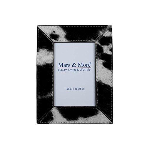 Mars & More - Marco de Fotos con Piel de Vaca (15 x 10 cm), Color Blanco y Negro