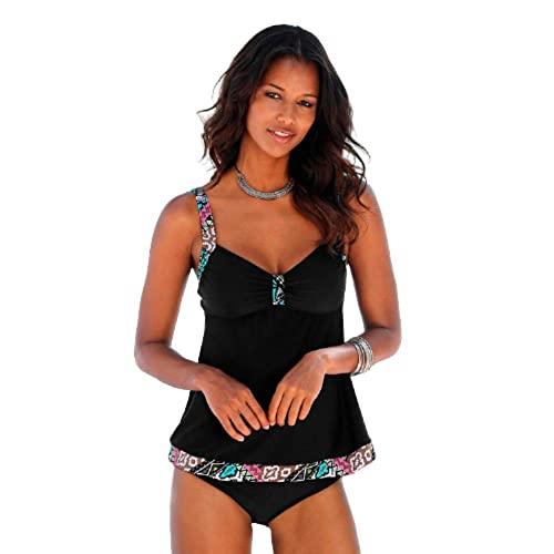 XUNHOU Traje de baño con cuello en V profundo, traje de baño dividido sexy de gran tamaño, bikini estampado de color sólido, bikini-black_XXL, traje de baño con tubo de control de barriga