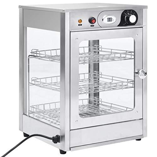 vidaXL Gastronorm Speisenwärmer Elektrisch 3 Etagen Aufsatzvitrine Heiße Theke Wärmebehälter Warmhaltetheke Gastro 600W Bis 85°C Edelstahl
