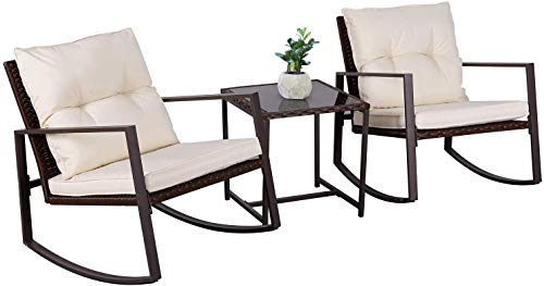 Oakmont Outdoor 3-Piece Patio Furniture Rocking Chair Bistro Set, Brown Wicker Conversation Set with Tempered Glass Coffee Table (Beige)