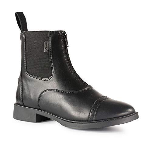 horze Wexford Reitstiefel synthetische Paddock Stiefel mit Reißverschluss für Damen, Schwarz, 36