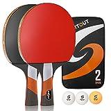 Easy-Room Tischtennisschläger, Tischtennis-Set mit 2 Schlägern und 3 Bällen und Tischtennis-Schläger mit Carry Case (Professional) (Tischtennis-Set)