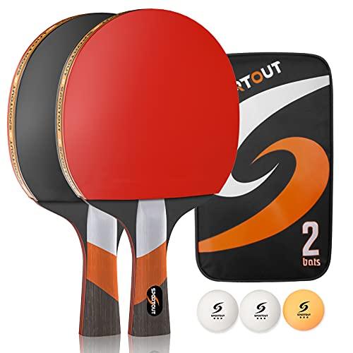 Easy-Room Tischtennisschläger, Tischtennis-Set mit 2 Schlägern und 3 Bällen und Tischtennis-Schläger mit Carry Case (Professional) (Tischtennis-Set) (Set-1)