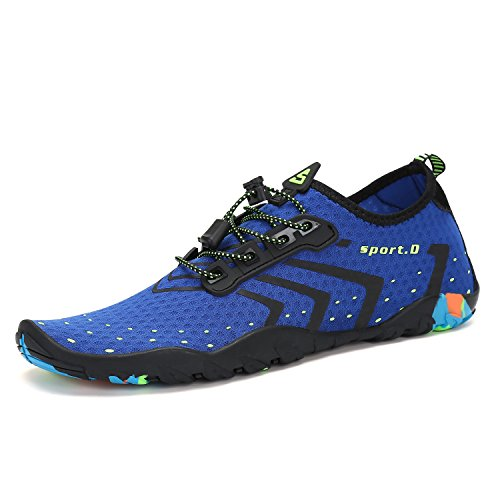 Mens Womens Water Shoes Quick Dry Beach Diving Blue 11.5 M US Women / 10 M US Men (44)