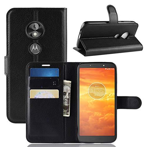 LMFULM® Hülle für Motorola Moto E5 Play (5.3 Zoll) [Fit UK Version only] PU Leder Magnet Brieftasche Lederhülle Handytasche Litschi Muster Standfunktion Ledertasche Flip Cover Schwarz
