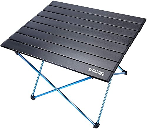G4Free Portable Camping Table Aluminum Folding Table Compact Roll Up Tables with Carrying Bag for Outdoor Camping Hiking Picnic(Black Medium)