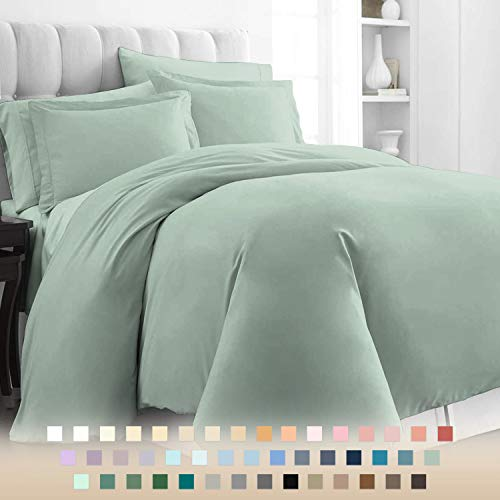 Pizuna 400 Thread Count Cotton Double Bed Duvet Covers Set Sage Green, 100% Long Staple Cotton Green Duvet Cover Double, Soft & Cosy Sateen Bed Set Double (100% Cotton Double Bed Quilt Cover Sage)