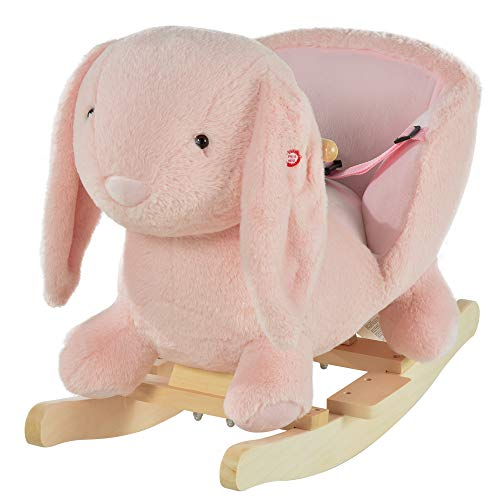 HOMCOM Kids Children Rocking Horse Plush Ride On Rabbit Seat w/Sound Wood Base Seat Safety Belt Toddler Baby Toy Rocker Pink 18-36 Months