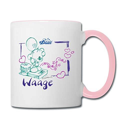 Diddl Sternzeichen Waage Teddy Pimboli Tasse zweifarbig, Weiß/Pink