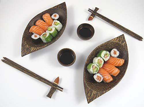 Merca - Juego de sushi compuesto por 2 platos en forma de barca, 2 salceras, 2 portabaquetas y 2 pares de palillos de madera de cocotero