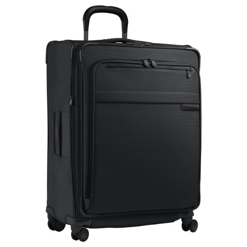 Briggs & Riley Baseline-Expandable Softside Large Checked Spinner Luggage, Black, 27-Inch