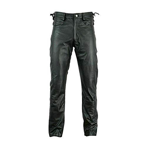 keephen Pantalones de Cuero para Hombre Pantalones de Cuero de Motocicleta con Cordones Laterales de Pierna Recta Pantalones Casuales de Cuero sintético