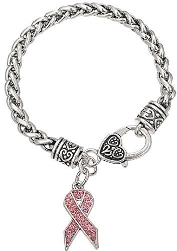 Lemegeton Breast Cancer Awareness Pink Ribbon Rhinestone Charm Wheat Chain Bracelet