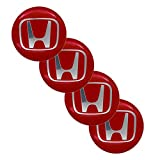 KGASYUI Wheel Center Hub Caps Car Accessories 4pcs 65mm Wheel Hub Center Sticker Cover Wheel Badge Sticker Cover Compatible with Honda- Logo Car Modification Stickers Center Caps (Color : Red)