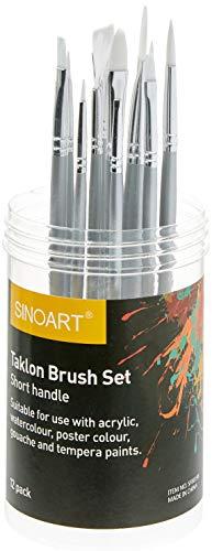 Sinoart Kit de 12 Pincéis para Pintura, Taklon Brush Set, Branco