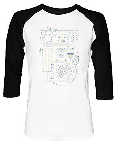 Circuito 2 Hombre Mujer Unisex Camiseta De Béisbol Blanca Negra Manga 2/3 Women's Men's Unisex Baseball T-Shirt