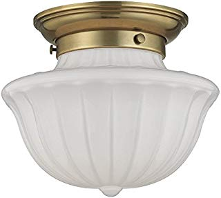 """Hudson Valley Lighting 5009F-AGB One Light Flush Mount from The Dutchess Collection, 9"""", Aged Brass"""