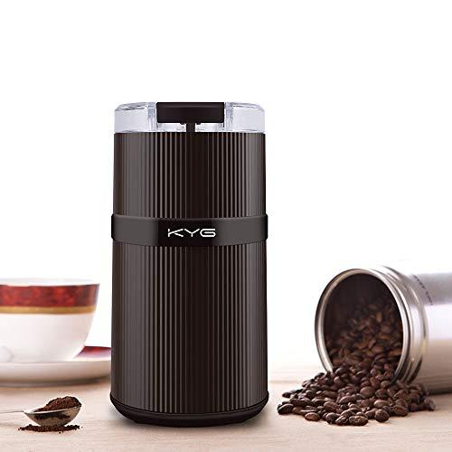KYG Macinacaffè Elettrico con Doppia Lame in Acciaio Inossidabile 304 mini Coffee Grinder Resistente per Macina Chicchi di Caffè, Spezie, Grani e Semi ecc Castano 160W 30g
