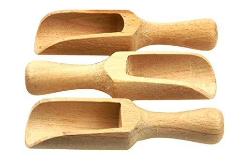 Set aus 3 Mini-Holzschaufel Holzlöffel Salzlöffel Küchenutensilien Milchpulver Kaffee Tee Süßigkeiten Holz Schäufelchen Füllschaufel Puppenstube gedrehte Ausfäuhrung