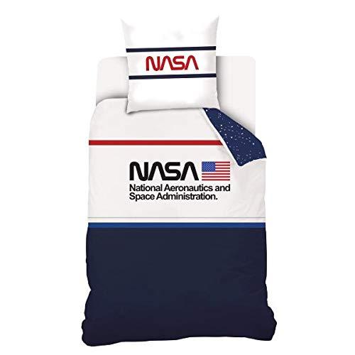 SAS SAHINLER NASA påslakan, blå/vit, 140 x 200 cm, enkel, 100 % bomull begränsad utgåva