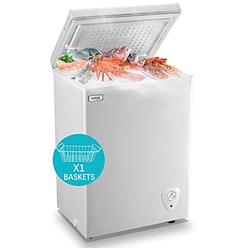 Chest Freezer 3.5 cu.ft WANAI Small Deep Freezer Mini Outdoor Chest Freezers with 7 Temperature Settings White/Black ideal for Apartment, Condo, Office, RV, Cabin, Small Kitchen