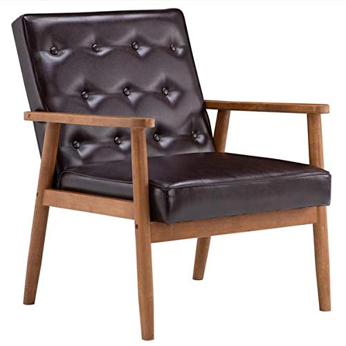 Lounge Chair, Armchair Leather Solid Wood & PU (75 x 69 x 84) cm Retro Modern Wooden Waiting Room Chairs Single Chair (Brown)