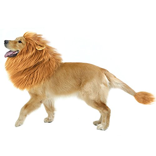 CPPSLEE Lion Mane for Dog Halloween Costumes - Realistic Lion Wig for Medium to Large Sized Dogs - Dog Costumes With Tail (Brown)