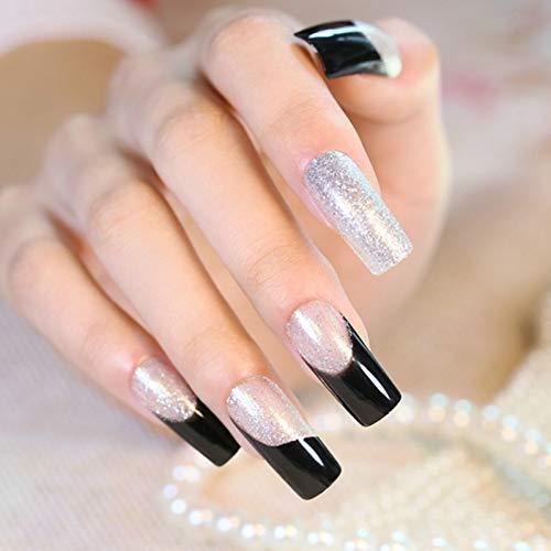Faux Ongles Nouveau 24Pcs Silver Slitter Square False Nails Long Full Artificial Nails Black Clear with Powder