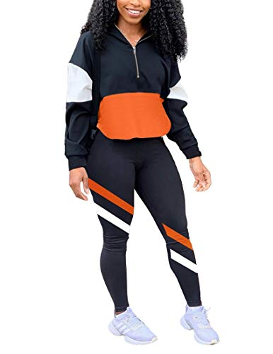 HAIJUN Women's Two Piece Outfits Zip Top Pullover and Elastic Waistband Legging Pant Women Sweatsuit Tracksuit Sets, Black X-Large
