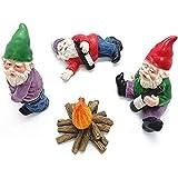 WINBST Gartenzwerge Figur,4 Stück Betrunkene Garden Gnomes,Mini-Gartenzwerge, verwendet für Puppenhaus Gartendekoration Zubehör Innen- und Außenbereich