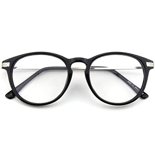 CN92 Klassische Nerdbrille rund Keyhole 40er 50er Jahre Pantobrille Vintage Look clear lens, 47, B Glossy Schwarz