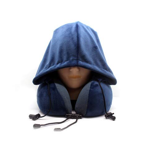 Topcaste Neck & Travel Pillow Memory Foam Filling with Attached Hoodie. Strong Head Support, Light Weight Travel, Ultra Soft Velour Fabric